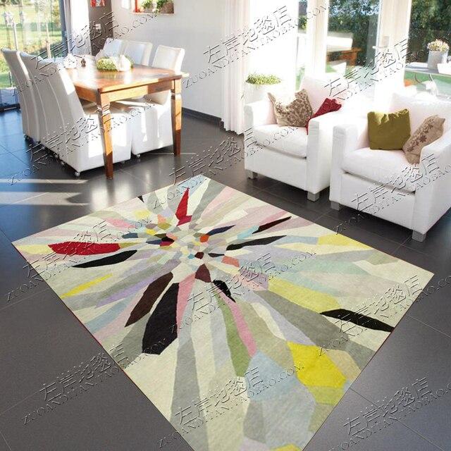 Цвета радуги абстрактный ковер alfombras современный ковры ручной работы гостиной Спальня модные креативные Кофе столик диван Tapete