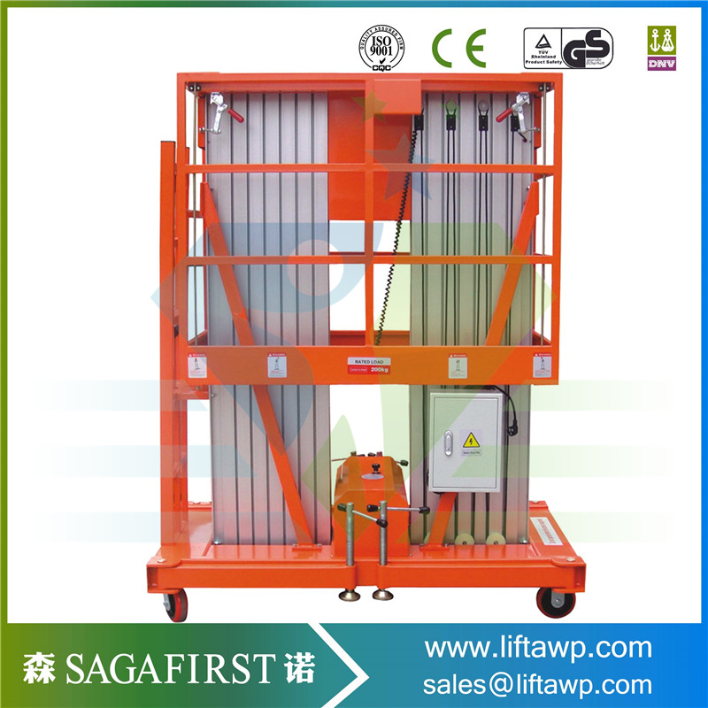 China New 2018 Double Mast Aluminum Lift For Hot Sales  Factory Price Good Quality