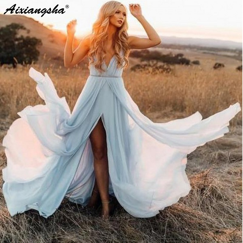 Romantic V-Neck Wedding Dresses 2019 With Slit Chiffon Robe De Mariee Sky Blue Rustic Summer Beach Wedding Gown