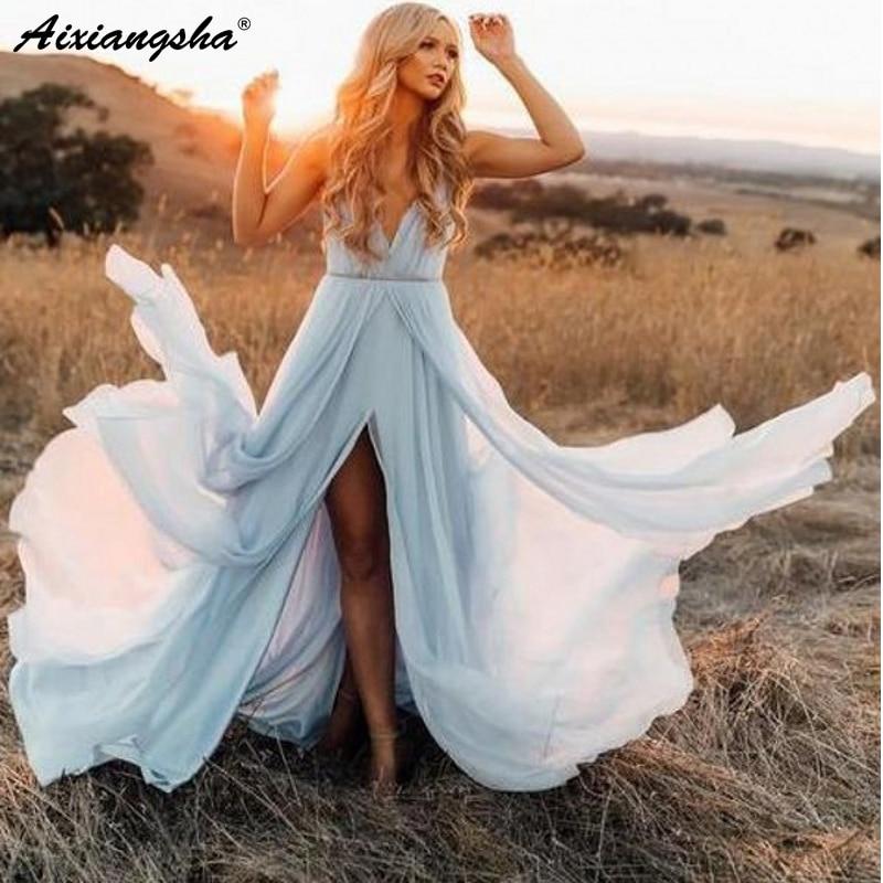 Romantic V-Neck Wedding Dresses 2019 With Slit Chiffon Robe De Mariee Sky Blue Rustic Summer Beach Wedding Gown