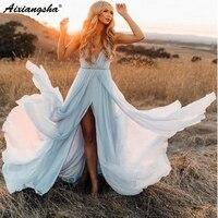 Romantic V Neck Wedding Dresses 2019 with Slit Chiffon robe de mariee Sky Blue Rustic Summer Beach Wedding Gown