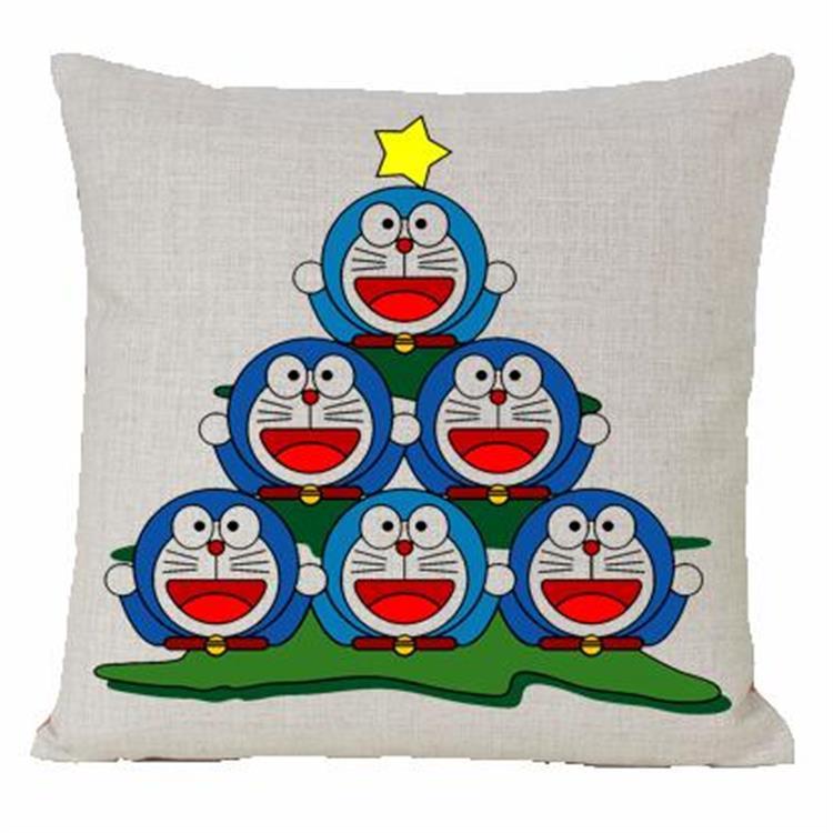 Doraemon pillow cover, cute Japanese creative cartoon Animation Doraemon cat christmas tree throw pillow cover