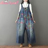 Mori Girl Wide Leg Bib Denim Overalls 2019 Women Vintage Print Casual Jean Jumpsuits Female Large Size Drop Crotch Denim Rompers