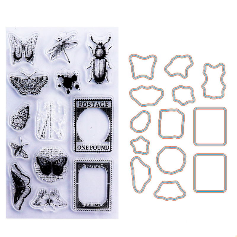 Clear Stamp and Insect Metal Cutting Dies Set Rubber Craft Scrapbooking
