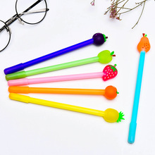 6 pcs Fruit family gel pen Strawberry Pineapple Pear Black color 0.5mm roller pens Kawaii gift Stationery School supplies FB746