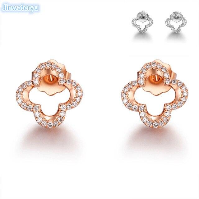 c7b1704a9 stud Earrings for women.2018 Jinwateryu latest 952 sterling silver fashion  clover earrings
