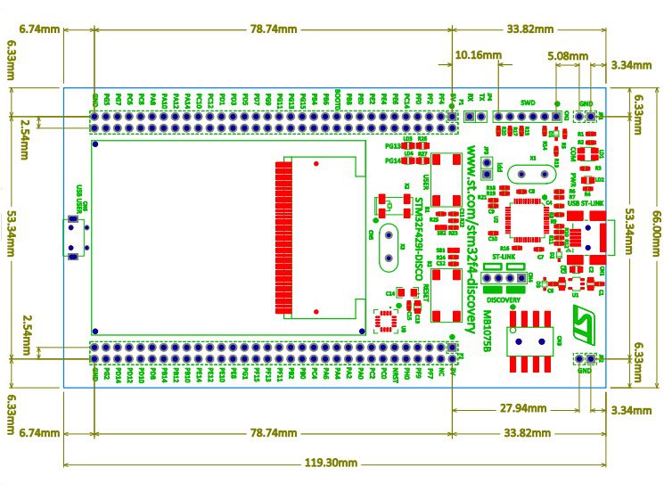 32F429IDISCOVERY board dimensions