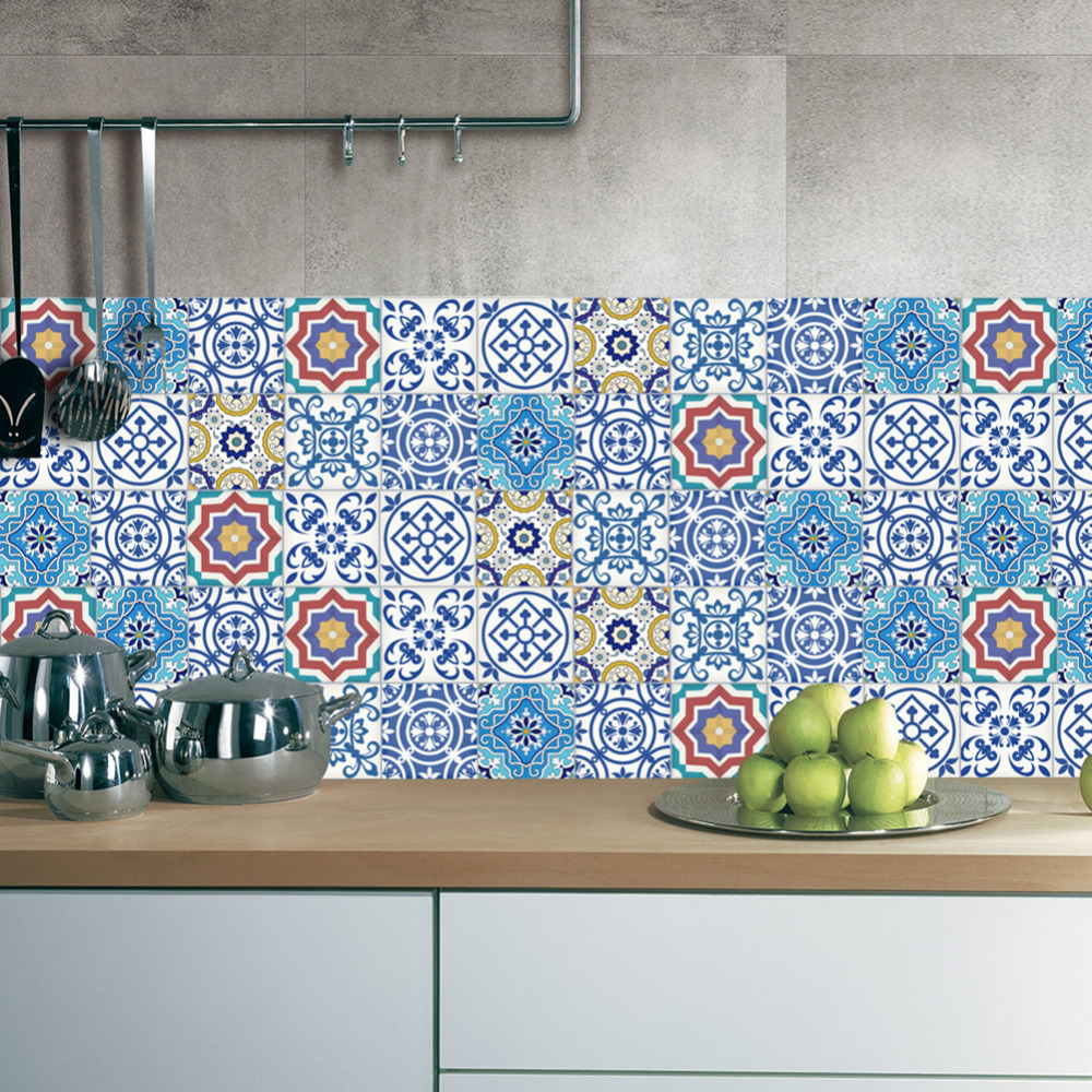 1pc 20x500cm Vintage DIY <font><b>Tile</b></font> Stickers PVC Bathroom Kitchen Waterproof Wall Sticker Home Decor Self Adhesive New Cabinets Decals