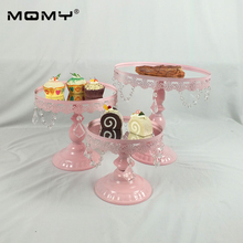 3Pcs/ set Golden Mirror Round Metal Cake Stand Plate Home Wedding Birthday Party