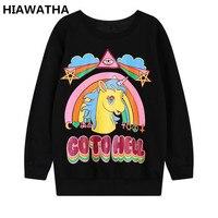 Hiawatha 스웨터 여성 2018 새로운 봄 유니콘 조랑말 인쇄 스웨터 하라주쿠 스타일 긴 소매 후드 T876