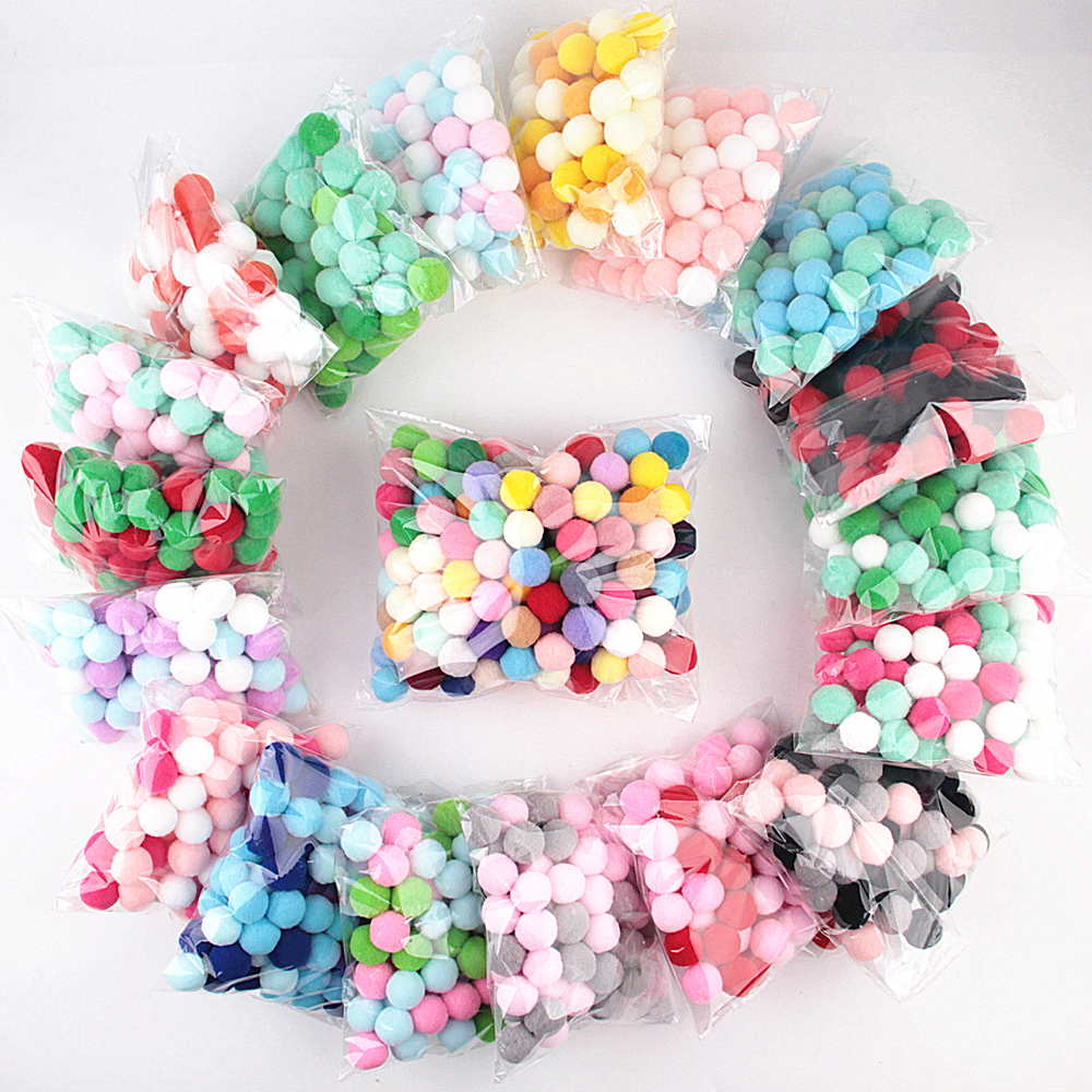 Mulit Colors Pompom 8mm 10mm 15mm 20mm 25mm 30mm Fur Craft DIY Soft Pom Poms Wedding Decoration Sewing On Cloth Accessories 20g