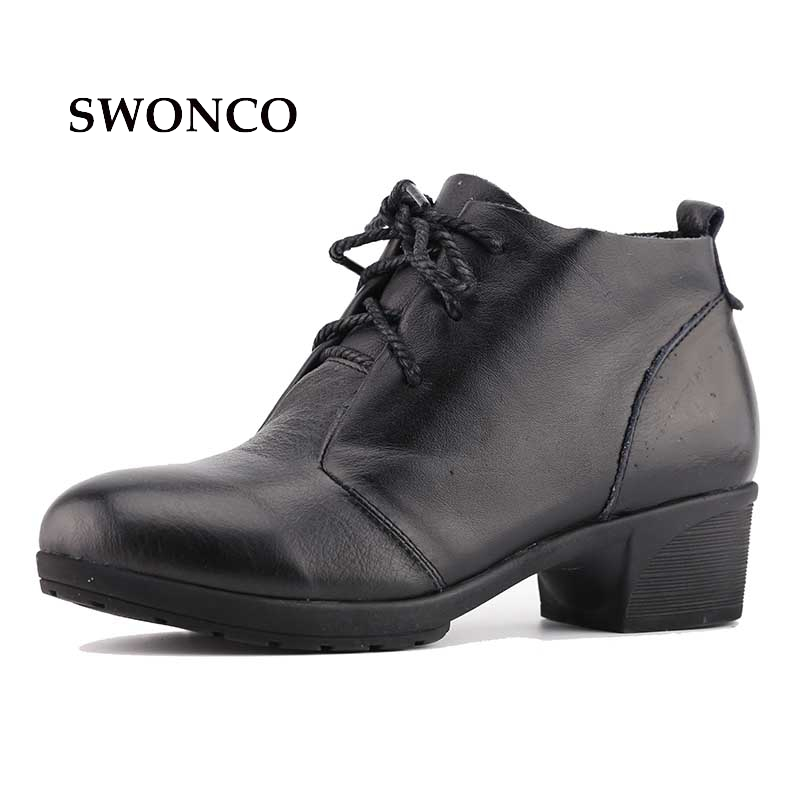 New Genuine Leather Lace up High Quality Women Ankle Boots Rubber Sole Fashion Sewing Solid Color 5cm Square Heel Female Shoes sfzb new square toe lace up genuine leather solid nude women ankle boots thick heel brand women shoes causal motorcycles boot