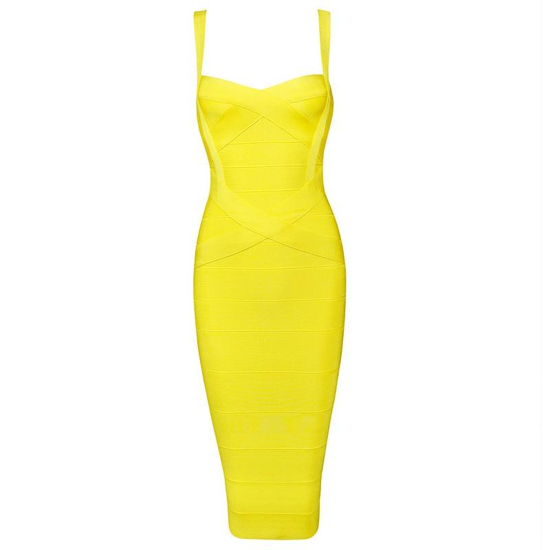 7 цветов Высокое качество Для женщин HL Бандажное платье трапециевидной формы без рукавов до колена Длина без рукавов пикантное, Клубное, вечернее платье - Цвет: Цвет: желтый