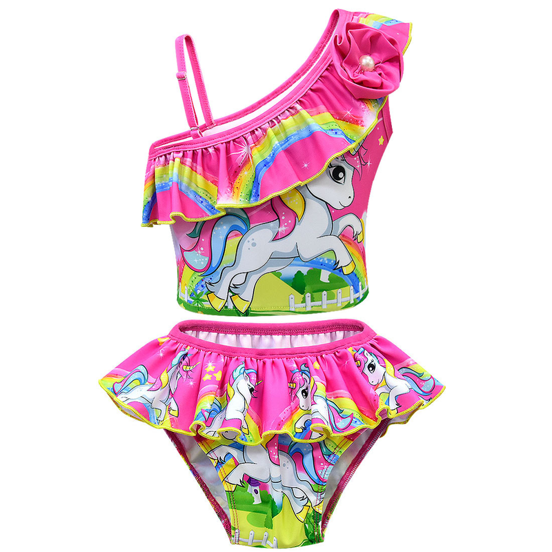 2019 new children 39 s Unicorn summer swimsuit slanted shoulder cute two piece swimsuit suit in Girls Costumes from Novelty amp Special Use