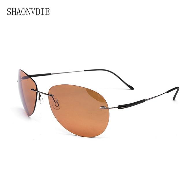 2e6a928d8 2016 New Fashion Ultralight Rimless Titanium Polarized Sunglasses Men  Driving Fishing Brand Design Sun Glasses Oculos