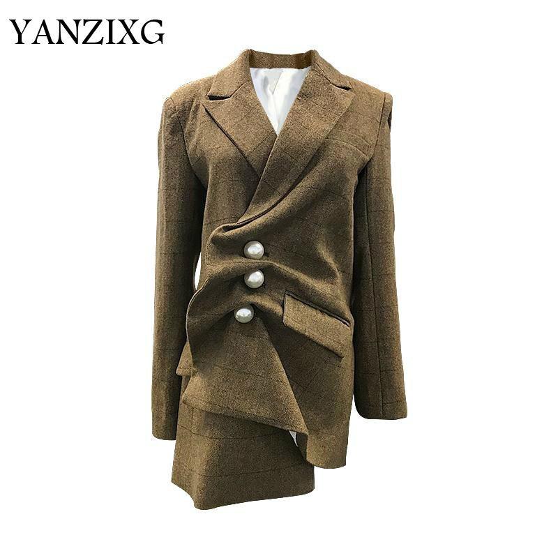 Women Coat Suit Coats Pearl Irregular Striped Women Blazers Jackets Black White Khaki Long Women Blazer Coats Tops Z120