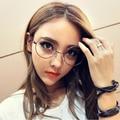 Ventas al por mayor Metal Frame diseñador Girls ronda gafas lente transparente Nerd Geek Eyewear