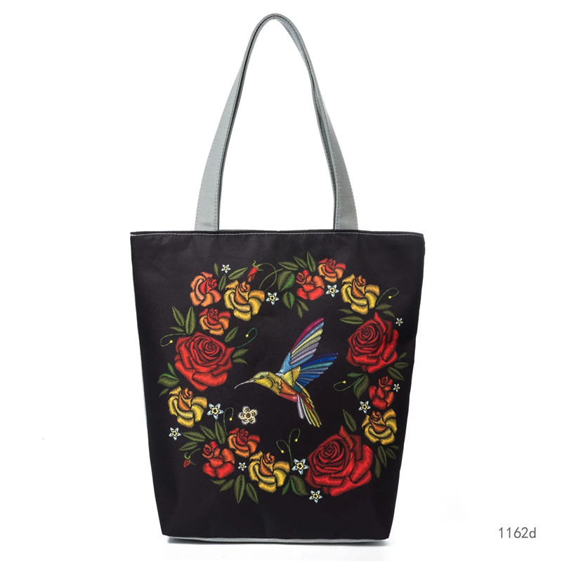 2b0b39f5dc47 Women Polyester Handbag Flower Bird Printed Shoulder Bag Ethnic Style  Female Large Capacity Ladies Women Tote Shopping Handbags