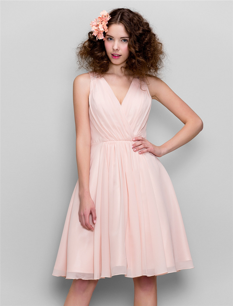 Fit And Flare Bridesmaid Dress | Ts Couture A Line Fit Flare V Neck Knee Length Chiffon Bridesmaid