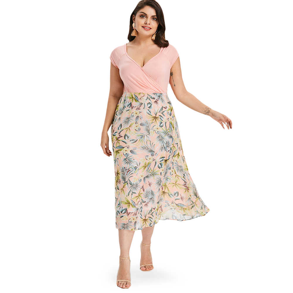 Gamiss Plus Size Tropical Floral A-Line Dress Women Casual V Neck Short  Sleeves Sundress e2ebdb0b9bf1