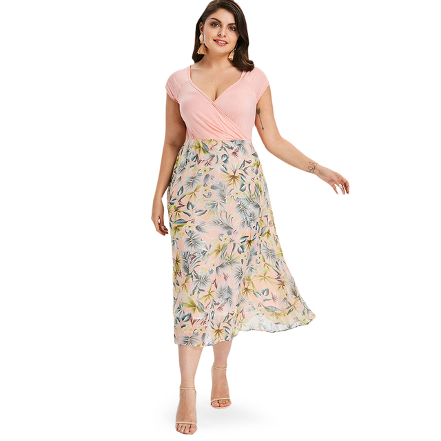 88c5f246f29 Gamiss Plus Size Tropical Floral A-Line Dress Women Casual V Neck Short  Sleeves Sundress Summer Party Dresses Vestidos Big Size