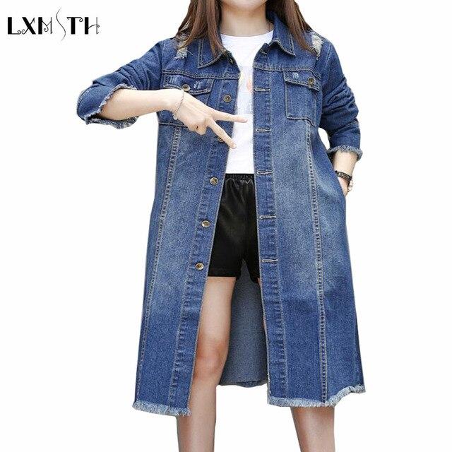 3XL 4XL 5XL Корейской свободные Повседневная Длинные Пальто Шанца Для Женщин Весной 2017 Женщин Джинсовой Верхняя Одежда Мода Отверстие Ветровка
