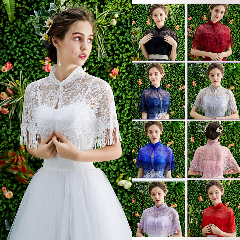 Summer Women Bolero 11 Colors Lace Bridal Stoles Wraps Vintage Tassels Wedding Coat Shawl Elegant Evening Jacket Cape Mariage