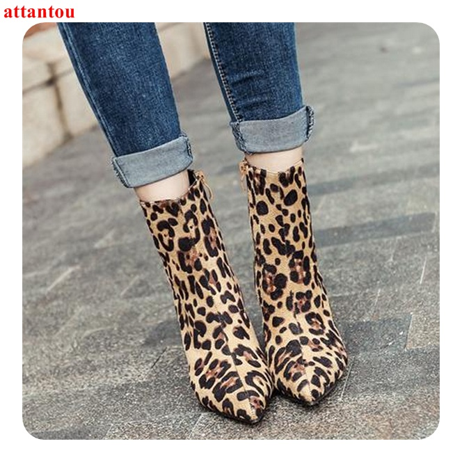 Newest Fashion Sexy Leopard Woman's short boots suede leather autumn winter women ankle boot thin heel pointed toe female shoes universe women winter ankle boots cow leather point toe zipper sexy thin heel black short boot matte boots female shoes g351