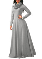 NEW 2018 Scarf Collar Long Maxi Dress Sexy Winter Womens Long Sleeve A Line Cotton Dress
