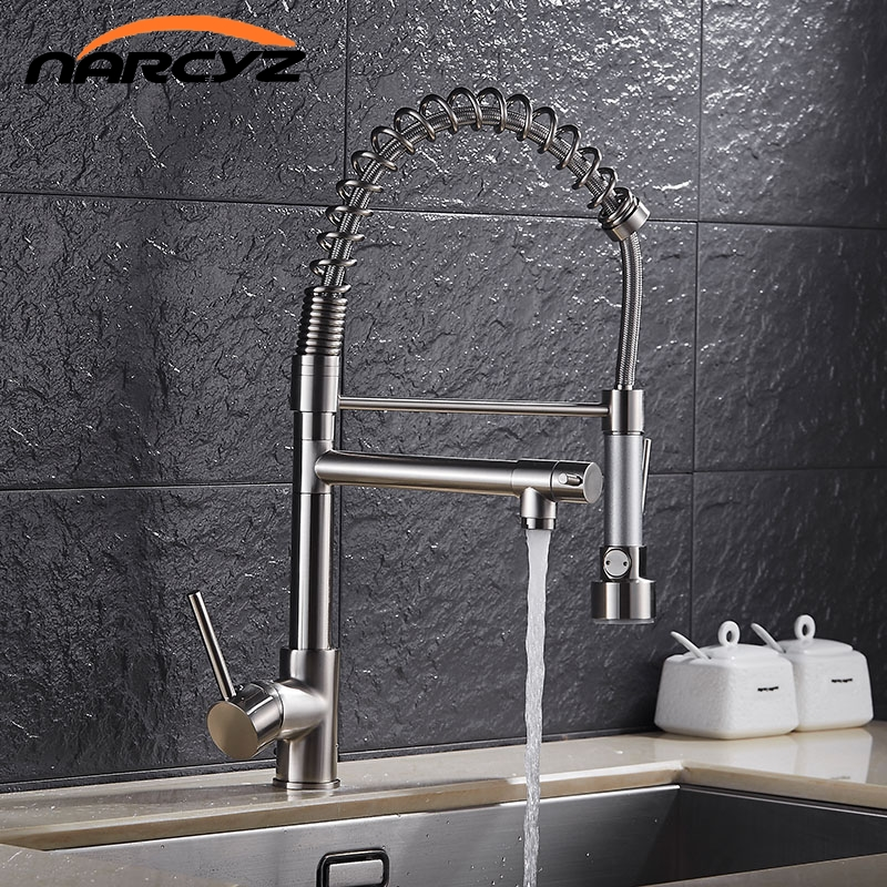 Golden European modern kitchen faucet multifunctional hot and cold water tank American spring faucet vegetable bowl