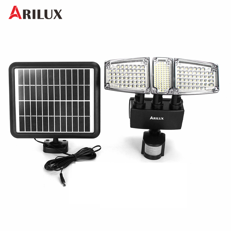 ARILUX 178 LED Flood Light PIR Motion Sensor Three Head Solar Lamp Outdoor Garden Waterproof Lamp With Solar Power Panel