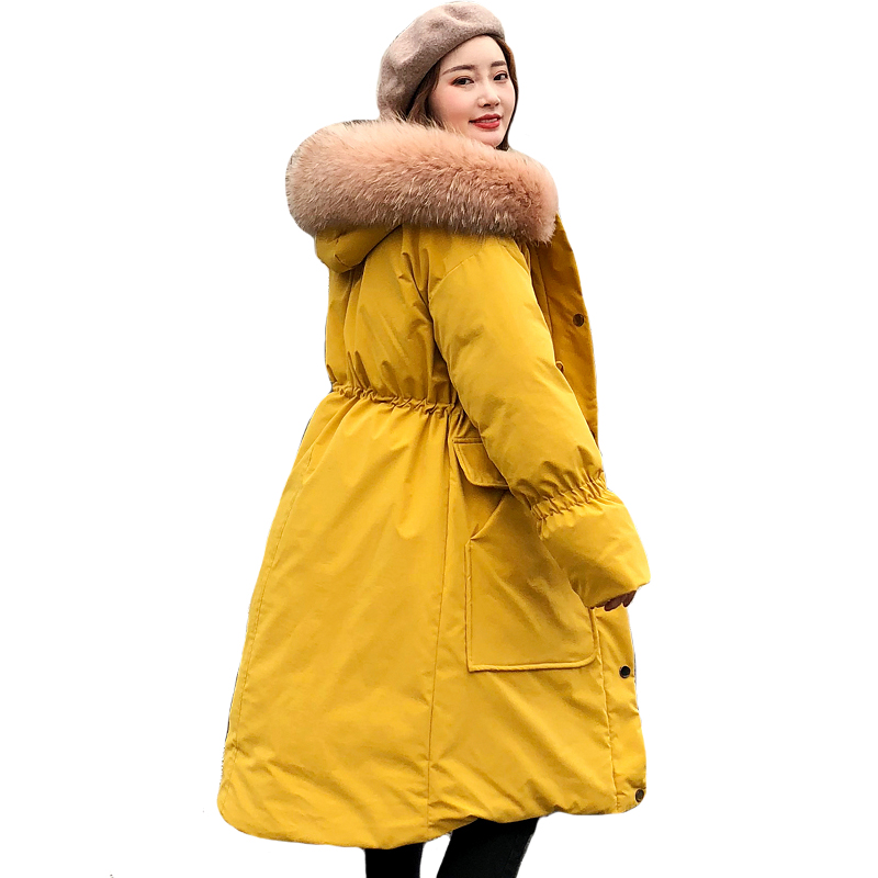 2019 New Design Winter Jacket Women With Thicken Fur Hooded   Down   Long   Coat   Breasted Buttons Female Parka High Quality