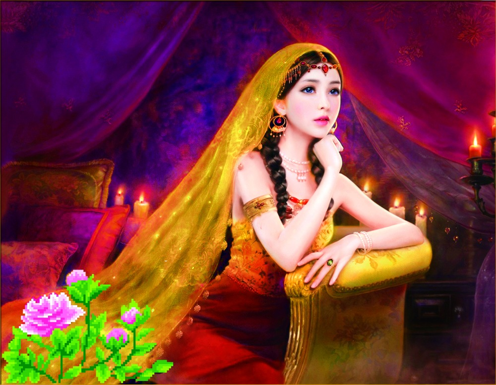 Candlelight Girl 5D DIY embroidery round Diamond painting flowers cross stitch mosaic Rhinestones wall stickers home decoration