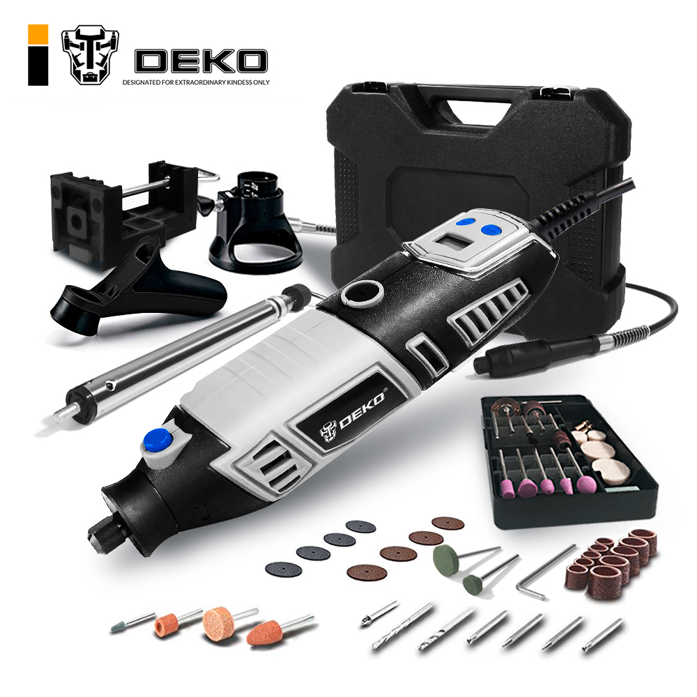 DEKO GJ201 LCD Variable Speed Rotary Tool Dremel Style Engraver Electric Mini Drill Grinder w Flexible