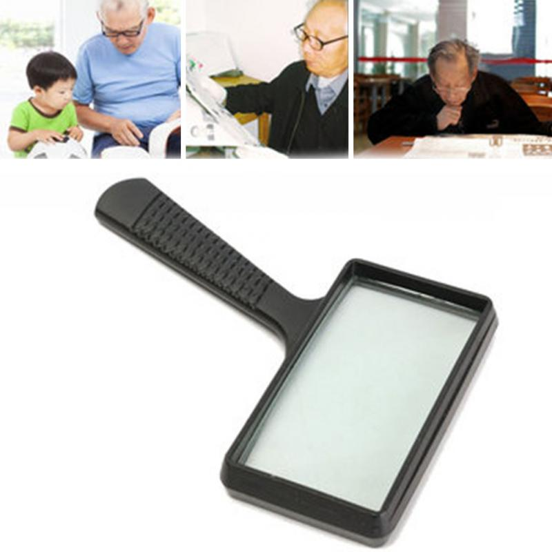 3X Large Handheld Rectangular Magnifier Magnifying Glass Loupe For Reading 2x 4x rectangular magnifying glass folding handle magnifier with light for reading mg84028