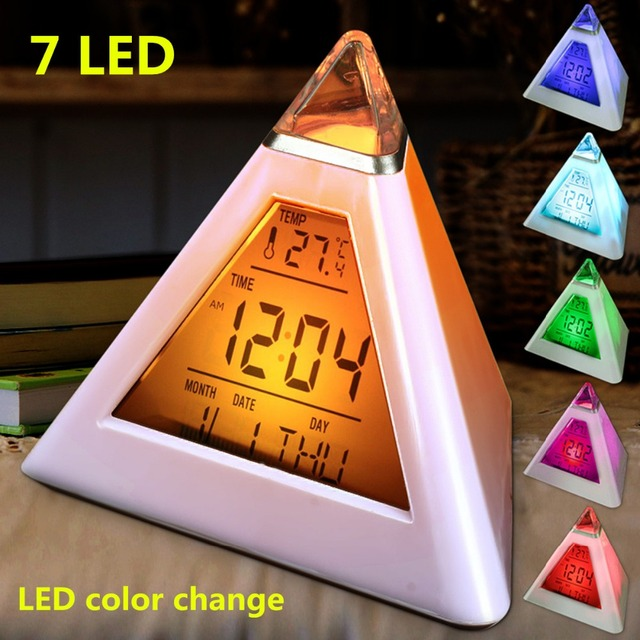 Charminer 7 LED Pyramid Change Colour Digital Clock With Date Alarm Temperature Alarm Clock ABS+ Electronic Component New