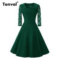 Tonval Vintage Three Quarter Sleeve Lace Dress Women Summer Elegant Lady Retro Burgundy Red Tunic Stretch