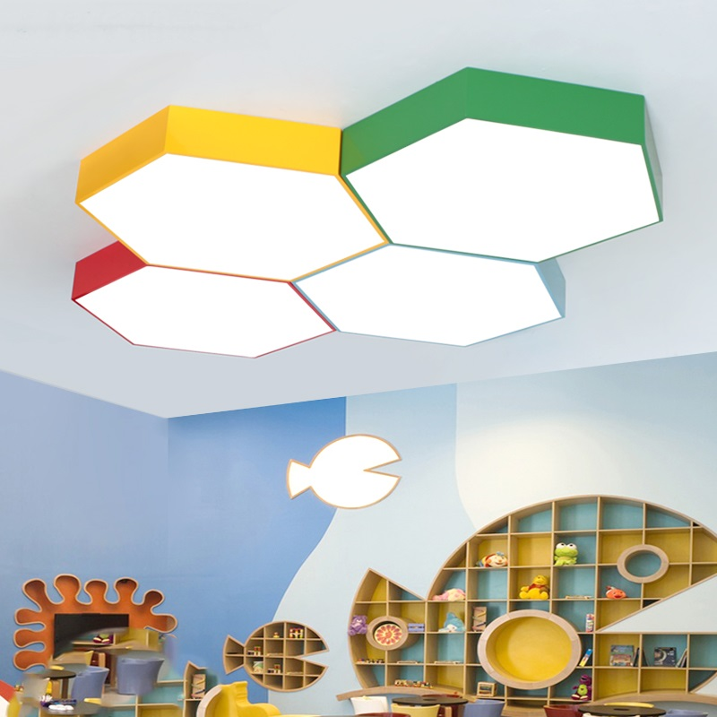 Creative multicolor LED lamps children's clothing store office ceiling lights kindergarten honeycomb ceiling lamp modern vintage lamp iron led ceiling lights for clothing store cafe creative plafoniera led ceiling lamps industrial lighting