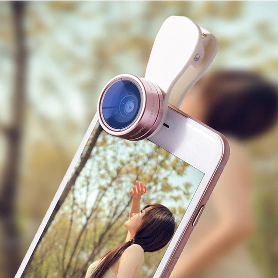 Universal 2in1 Clip-on HD Lens Kit 0.36X Wide Angle 15X Macro Mobile Phone Camera Lenses For Lenovo s850 P90 vibe k5 LG g3 g4C