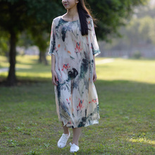 SCUWLINEN 2017 Summer Dress Chinese Ink and Wash Painting Women Dress Fairy Vintage Silk Dresses O-Neck Party Dresses S81