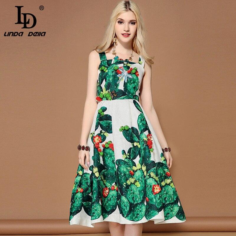 Ld linda della 2019 패션 활주로 여름 드레스 여성 민소매 크리스탈 구슬 녹색 식물 선인장 인쇄 캐주얼 드레스-에서드레스부터 여성 의류 의  그룹 2