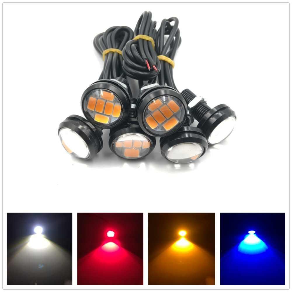 6x светодиодный свет 12 в 23 мм 6 светодиодный синий красный белый Янтарный орлиный глаз дневной ходовой свет DRL сигнальная лампа двойной цвет