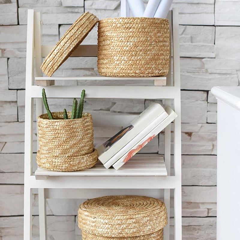 3 Pcs/Set Handmade Straw Woven Storage Basket With Lid Snack Organizer Storage Box Laundry Baskets Rattan Storage Flower Baske