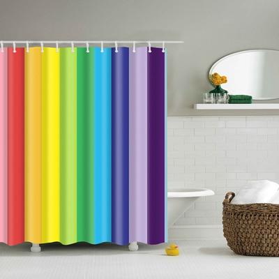 Красочные в радужную полоску узор занавески для ванной комнаты Водонепроницаемый полиэстер экологичный душевая Шторы s20 - Цвет: TZ161211