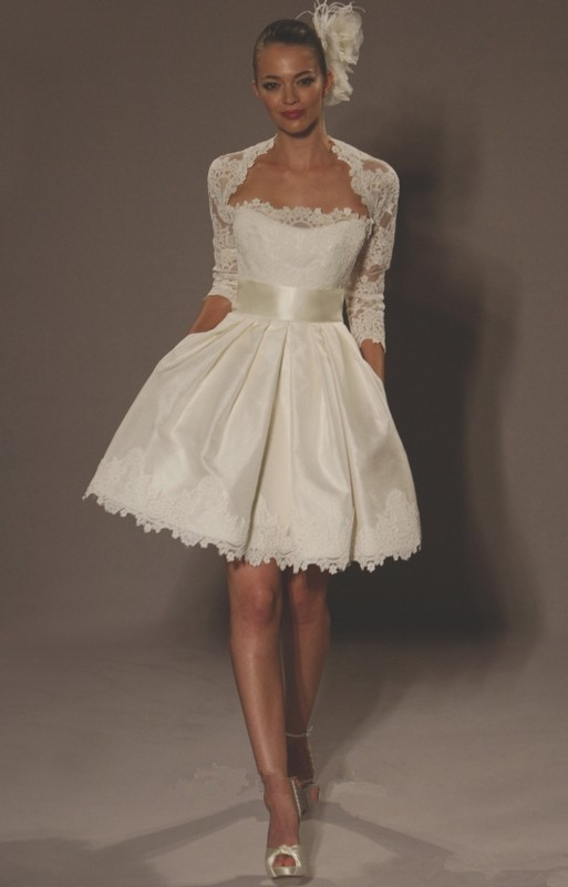 Short Wedding Gowns: Aliexpress.com : Buy Real Photo Ivory Lace Long Sleeve