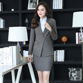Plus Size Autumn Winter Elegant Grey Formal OL Styles Professional Business Women Work Suits With Jackets And Skirt Blazers Set