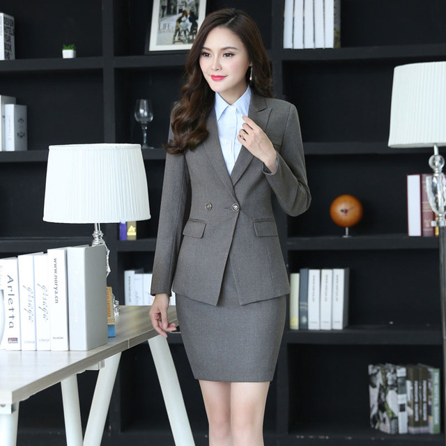 dfe351e52a9f Plus Size Autumn Winter Elegant Grey Formal OL Styles Professional Business  Women Work Suits With Jackets