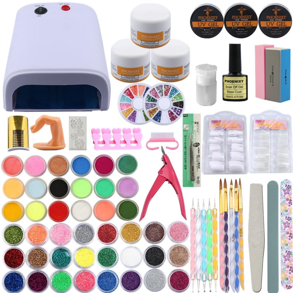 Professional Nail Art Tools Kit UV Gel Finger Extension Nail Burshes Acrylic Powder 42Pcs Powder Glitter Nail Decoration Tip Kit стоимость