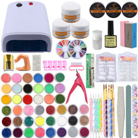 Professional Nail Art Tools Kit UV Gel Finger Extension Nail Burshes Acrylic Powder 42Pcs Powder Glitter Nail Decoration Tip Kit