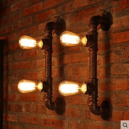 Edison Wall Sconce Industrial Pipe Vintage Wall Light With 2 Lights For Home Lighting In American Country Retro Loft Style water pipe wall lamps vintage american country mesh cover industrial retro wustic wall warehouse sconce for home lighting light
